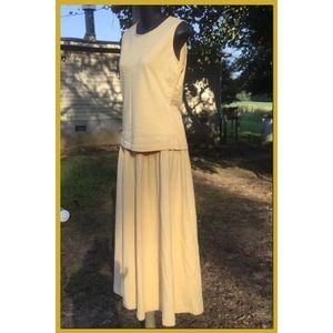 Pale Goldenrod Cotton Skirt Set